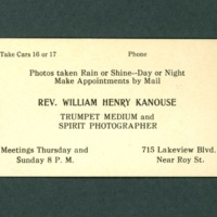 Business Card, Reverend William Henry Kanouse